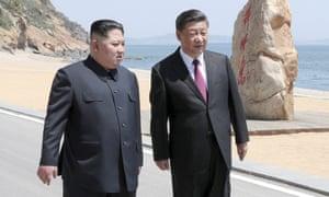Kim Jong-un and Xi Jinping meet in Dalian, Liaoning province, China.