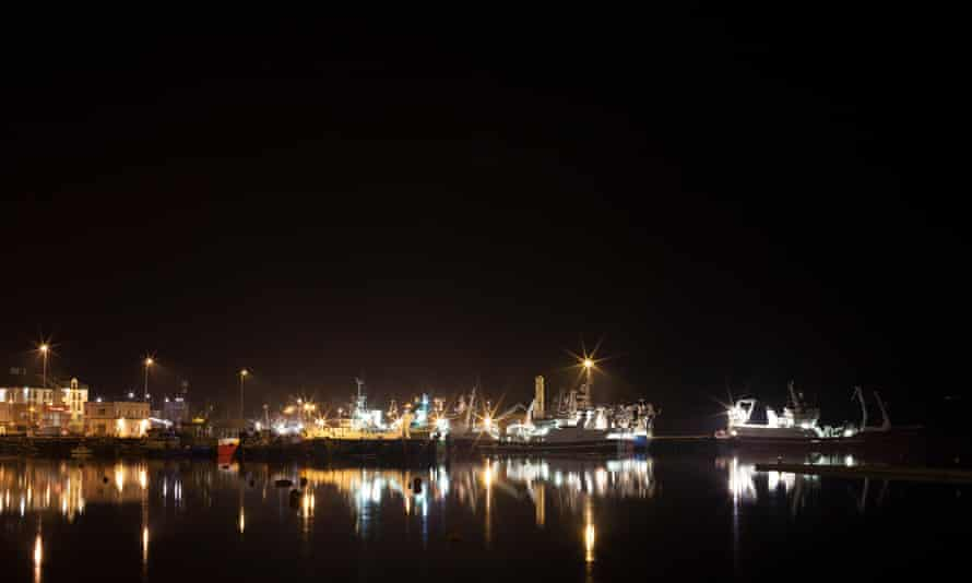 The pier of Killybegs, Ireland's largest fishing port, is seen at night