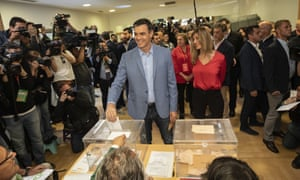 Spanish Prime Minister and Socialist Party candidate Pedro Sanchez casts his vote inside a polling station during Spain's general election in Pozuelo de Alarcon, outskirts of Madrid, Sunday, April 28, 2019.