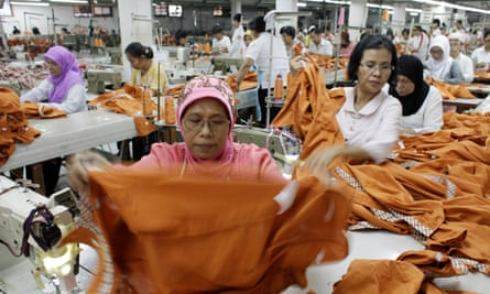 Workers make clothes at a factory in Jakarta, Indonesia.