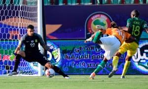 Jonathan Kodjia scores the opening goal.