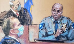 Drawing from court artist:Hennepin County District Judge Peter Cahill (top) listens as Minneapolis Police Chief Medaria Arradondo (in uniform) answers questions on the sixth day of the trial of former Minneapolis police officer Derek Chauvin (left).