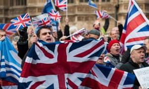 Pro-Brexit demonstrators outside Westminster, November 2016.