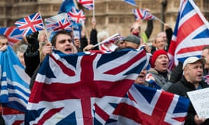 23 November 2016. Pro-Brexit supporters gather to demonstrate outside Houses of Parliament