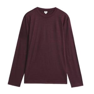 Burgundy merino wool jumper Arket