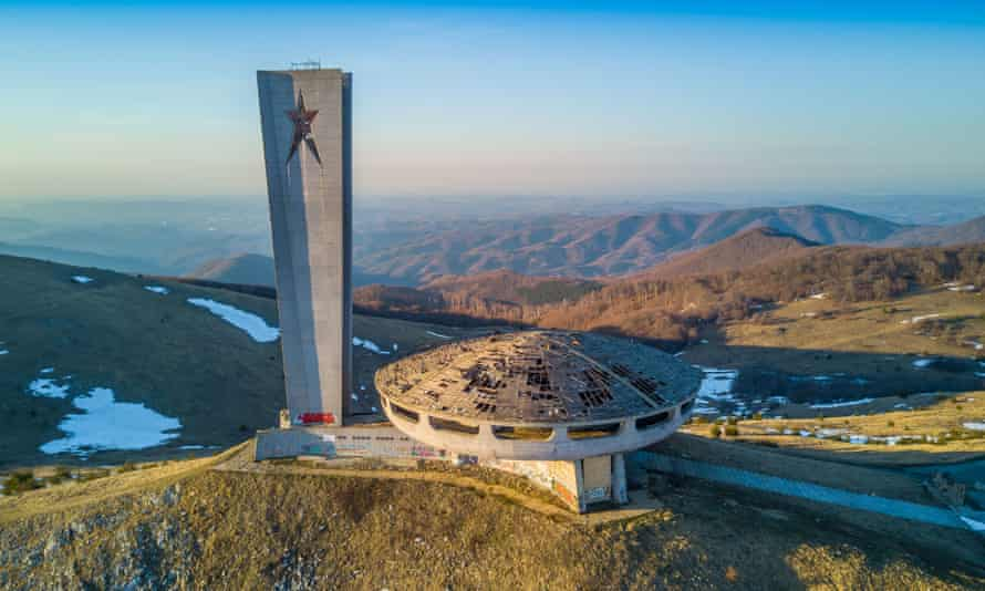 The Buzludzha Monument perched like a UFO on a mountain top in the Bulgarian Balkans.