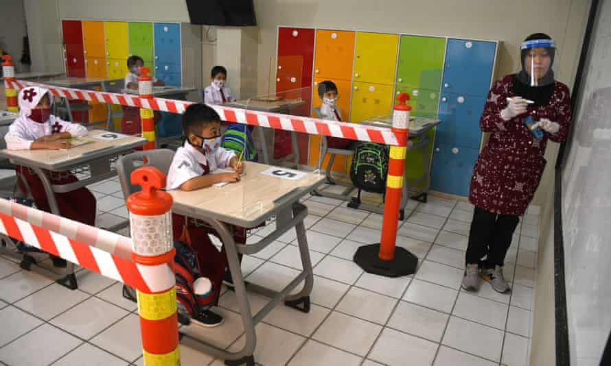 A simulation of the new teaching setup in the Nassa school, Jakarta, Indonesia.