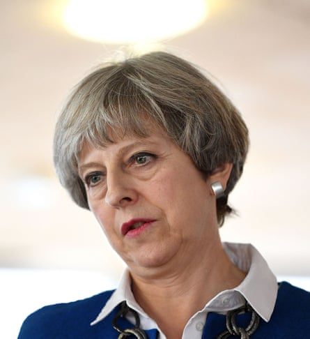 Theresa May in Accrington, Lancashire.