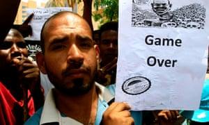 Demonstrators in Khartoum on Thursday.