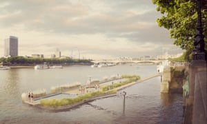 An artist's impression of how the a proposed natural, heated public pool in the middle of the River Thames could look.