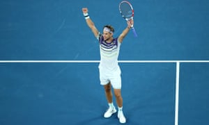 Dominic Thiem celebrates after winning match point during his semi-final win over Alexander Zverev.