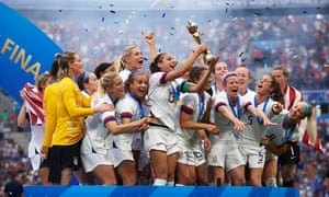 The US celebrate their victory at last year's Women's World Cup
