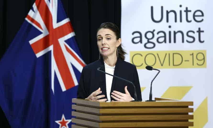 New Zealand's prime minister Jacinda Ardern speaks to the media.