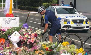 a cyclist lays a tribute in christchurch