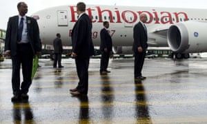 US secret service agents and members of Ethiopian security on guard at Addis Ababa for President Barack Obama's visit.