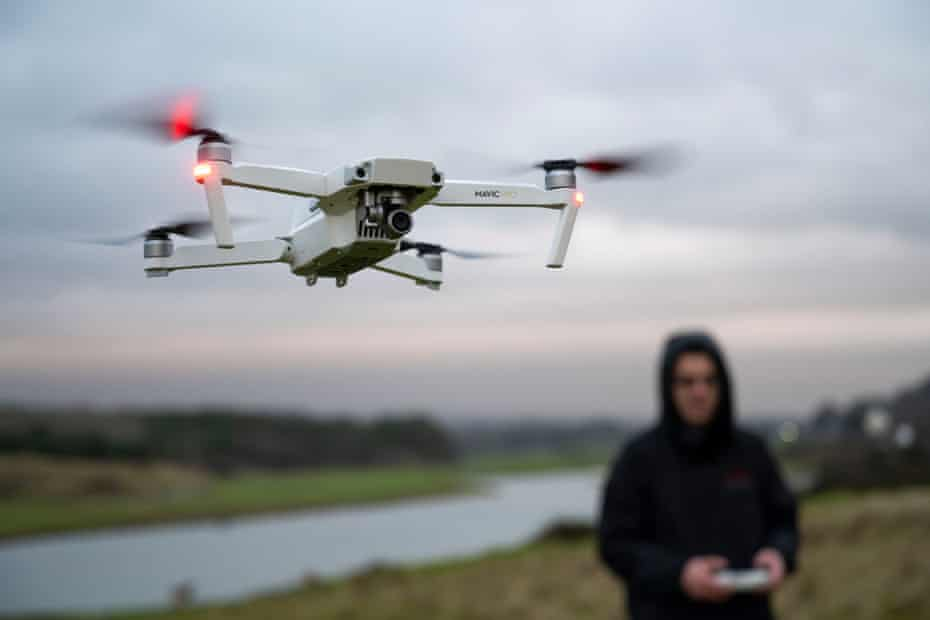A high-end consumer drone being flown near Bridgend in Wales.