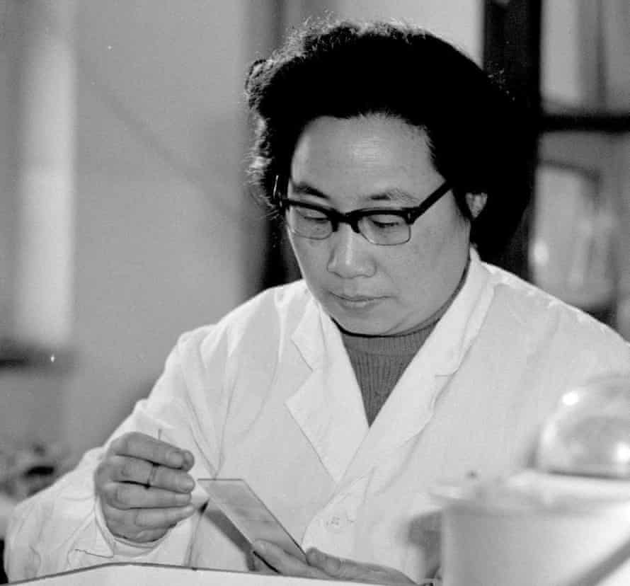Tu photographed in the 1980s. Not content with identifying the remedy, Tu took it upon herself to test it.