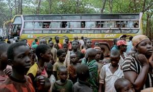 A busload of refugees arrives at Nyarugusu camp, Tanzania