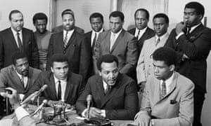 The 1967 meeting of African American athletes featuring, front row left to right, Bill Russell, Muhammad Ali, Jim Brown and Lew Alcindor (Kareem Abdul-Jabbar).
