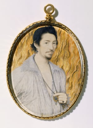 Man Among Flames by Nicholas Hilliard. England, 16th century.Elizabethan Treasures: Miniatures by Hilliard and Oliver, 21 February - 19 May 2019 Unknown man against a background of flames by Nicholas Hilliard, c.1600
