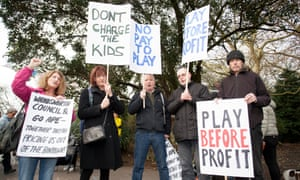 Protesters demonstrate against Go Ape opening in Battersea Park, south London on the site of a former children's playground in December 2015