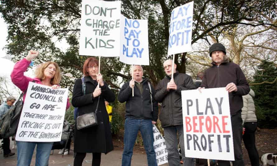 Protesters demonstrate against Go Ape opening in Battersea Park.