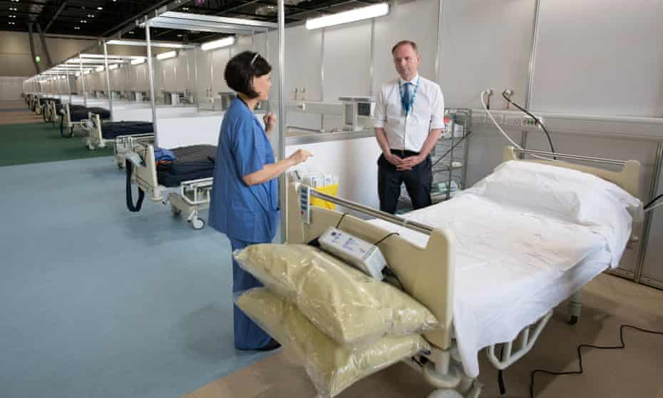 Sir Simon Stevens, CEO of NHS England, pictured at the Nightingale hospital, London. He said efforts to redistribute patients meant extensive use of this field hospital had not been needed.