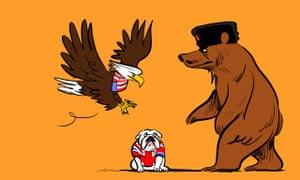 American eagle and Russian bear over a cowering British bulldog