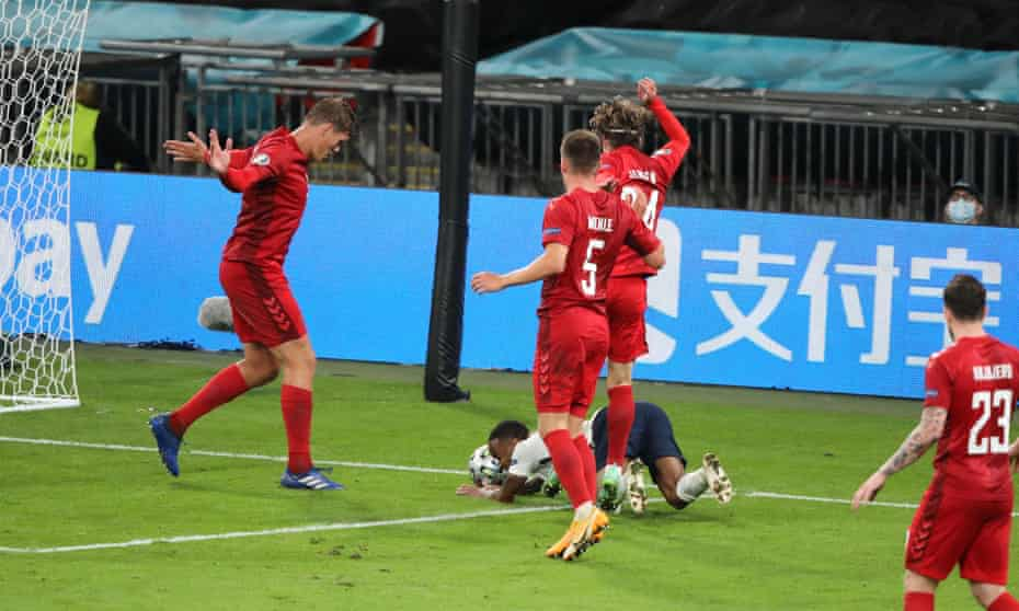 A penalty was given for this foul on Raheem Sterling in England's Euro 2020 semi-final against Denmark.