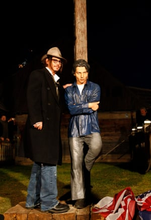 2010 Johnny Depp unveils a statue of Johnny Depp during the Kustendorf film festival in Belgrade, Serbia