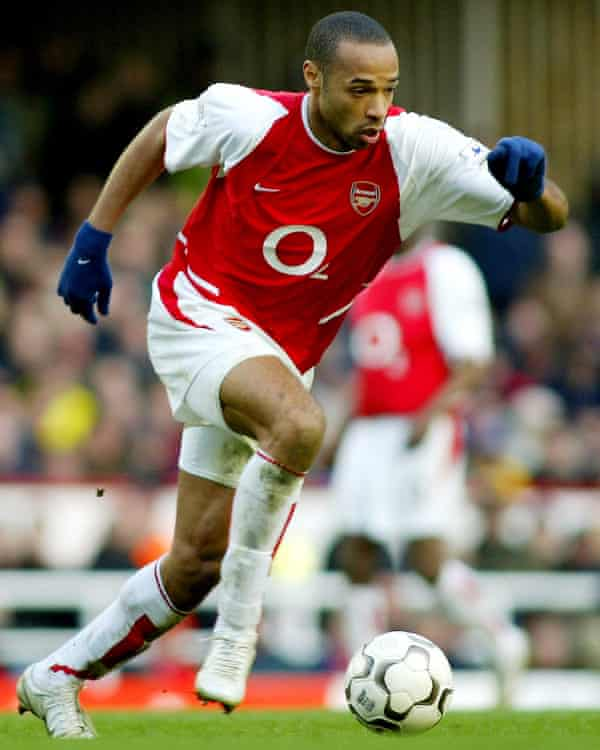 Arsenal's Thierry Henry runs with the ball against Bolton Wanderers in March 2004