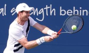 Andy Murray hits a return to Frances Tiafoe