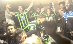 AFC Wimbledon celebrate making the League Two play-off final.