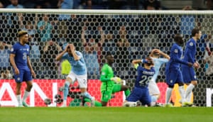 Riyad Mahrez reacts as a late chance flashes over the bar. Surely that's it for City now?