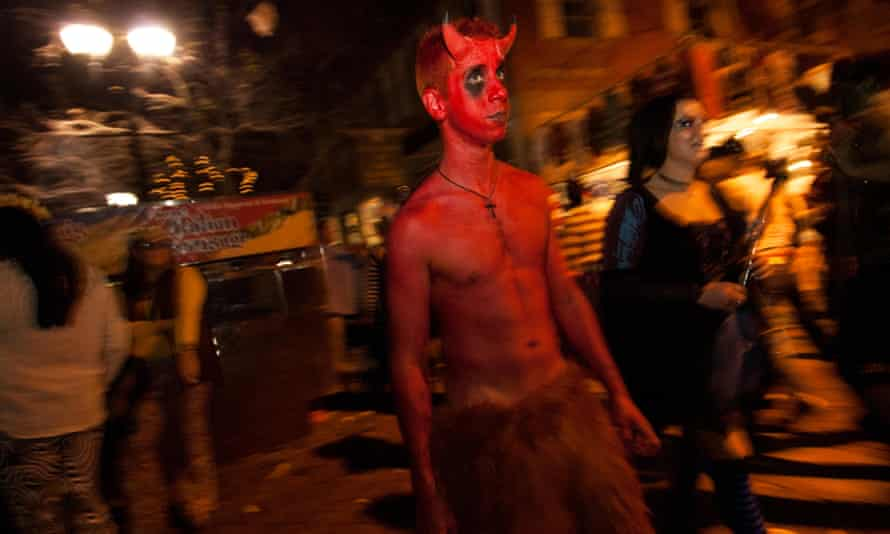 A young man dressed up as the devil on Halloween night in Salem, Massachusetts, US