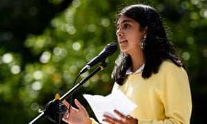 Anjali Sharma, 16, lead applicant in a climate class action against the Australian federal environment minister, speaks at a climate rally. The trial starts in Melbourne on Tuesday.