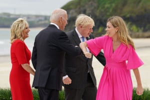 Biden bumps elbows with Carrie Johnson in front of US first lady Jill Biden and Boris Johnson