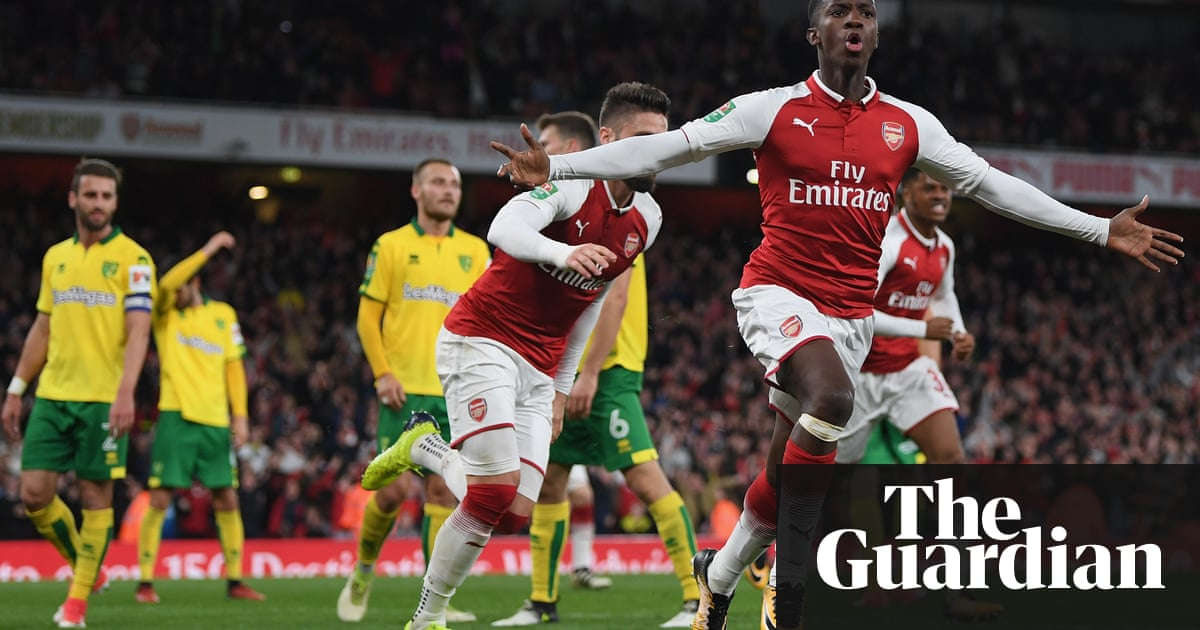 Eddie Nketiah Celebrates Scoring The First Arsenal Goal During Sides 2 1 Carabao Cup Fourth Round Win Over Norwich Photograph Shaun Botterill Getty
