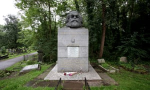 The tomb of Karl Marx in Highgate Cemetery, London,