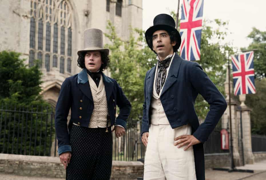 Dev Patel, right, as David Copperfield, with Aneurin Barnard as James Steerforth.