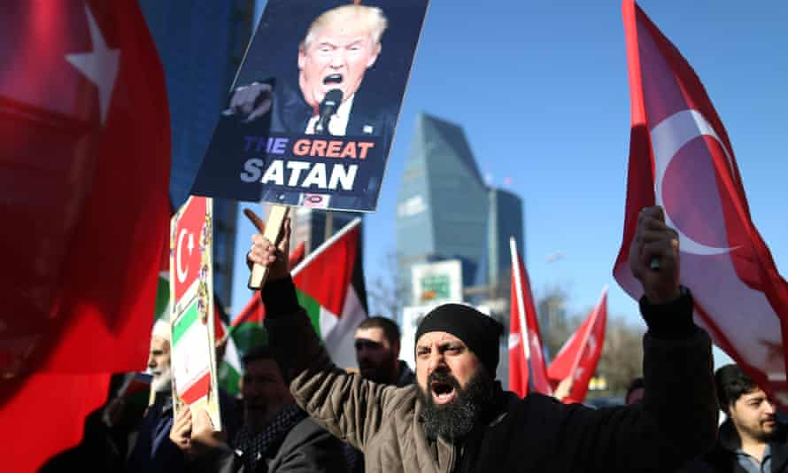In Istanbul, protests against the US recognition of Jerusalem as capital of Israel.