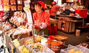 A foodie souvenir shop in Narita town.