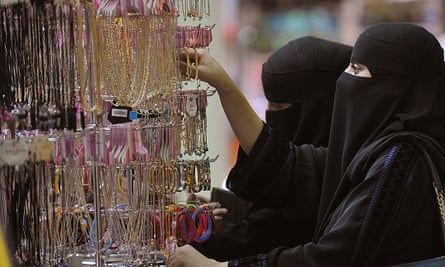 Women shop for jewellery in a Riyadh mall