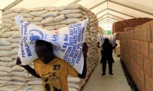 Food from the World Food Programme for South Sudanese refugees at Palabek camp in Lamwo.