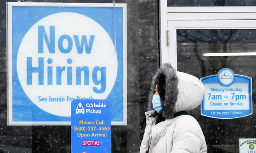 A 'now hiring' sign is seen in Schaumburg, Illinois. Women's labor force participation – the percentage of women in or looking for work – had not been as low as it was in March (57.4%) since December 1988.