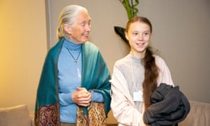 Thunberg with Jane Goodall last month.
