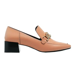 pale pink leather heeled loafers Uterque
