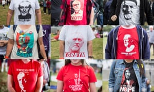 Composite image showing the variety of T-shirts supporting Jeremy Corbyn at the Labour Live event