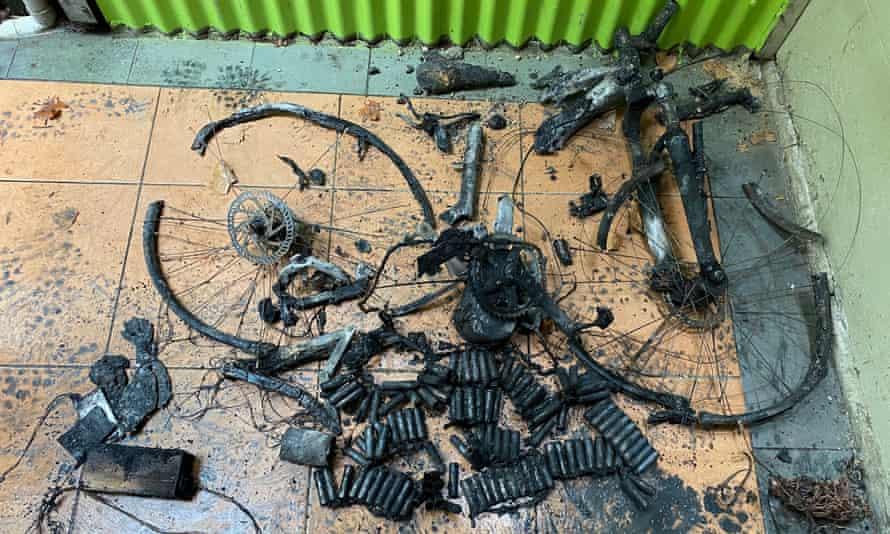 The charred remains of an e-bike