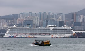 The World Dream cruise liner docked in Hong Kong where tests for coronavirus are being carried out on passengers and crew.